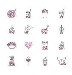 Bubble tea outline icon set milk boba in a mug vector