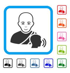 Buddhist confession framed joyful icon vector