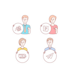 bus tour present delivery and parking icons vector image