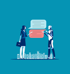 Businesswoman chatting for help bot concept vector