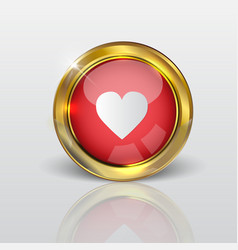 Button web love glossy red gold vector