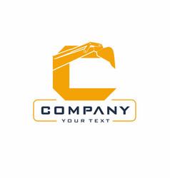 c letter excavator logo design vector image