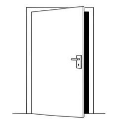 cartoon drawing slightly open door opportunity vector image