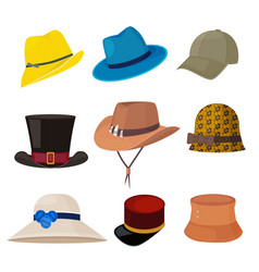 cartoon hats male and female stylish accessories vector image