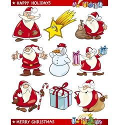 Cartoon set christmas themes vector