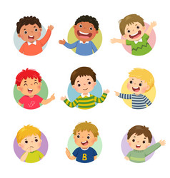 cartoon set different boy kids vector image