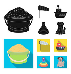 Children toy blackflat icons in set collection vector