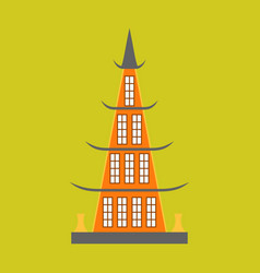 Chinese restaurant building flat icon vector