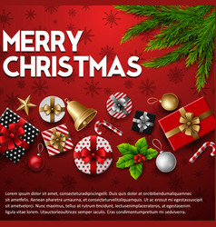 christmas background with elements red backgroud vector image