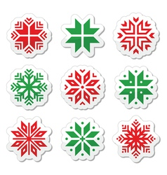 Christmas winter snowflakes icons set vector image