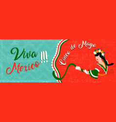 Cinco de mayo web banner with latin woman dancing vector