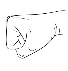 clenched fist side view on white background vector image