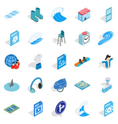 Clothes for rest icons set isometric style vector