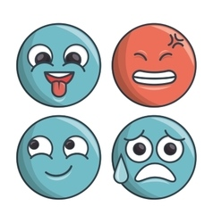 collection set emoticons differents expression vector image