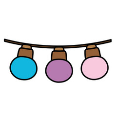 Color nice bulbs hangings decoration style vector