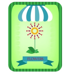 Colorful flower under a striped awning vector image