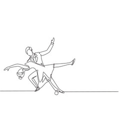 continuous one line drawing young man and woman vector image