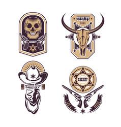 cowboy emblems set vector image