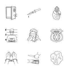 Crime set icons in outline style Big collection vector