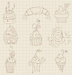 cupcakes sketch set vector image