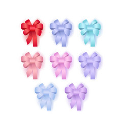 decorative gift bows with ribbons of different vector image
