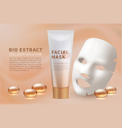 Facial mask sheet cosmetic skincare and natural vector