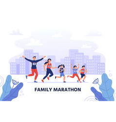 family marathon happy parents run together with vector image