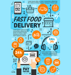 Fast food online delivery service icons and signs vector