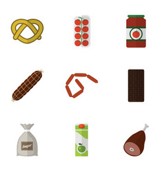 Flat icon food set of bratwurst smoked sausage vector