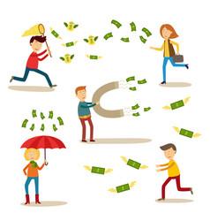 Flat people catching money scenes set vector