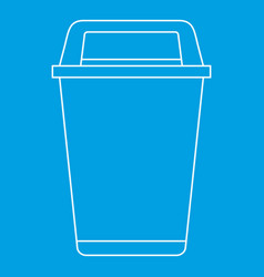 Flip lid bin icon outline style vector