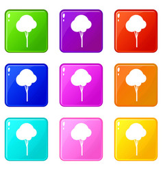 Fluffy tree icons 9 set vector