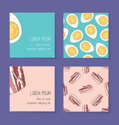 Food business cards template collection vector