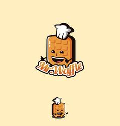 fun playful mascot cartoon waffle logo icon vector image