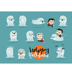 Funny cartoon schoolboy character and ghosts vector