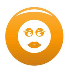girl smile icon orange vector image
