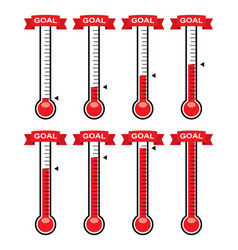 goal thermometers at different levels vector image