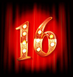 gold numbers 16 greeting card vector image