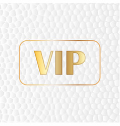 Gold vip text on a stylized white skin background vector