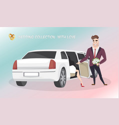 Groom helps the bride get out of wedding limousine vector