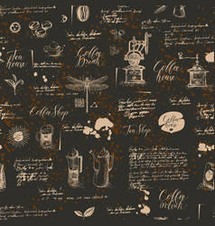 Grunge seamless background on coffee and tea theme vector