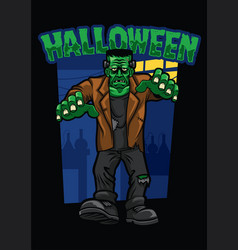 halloween design of frankenstein vector image