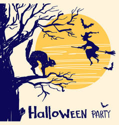 Halloween party card with witch and night moon vector
