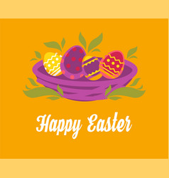 happy easter wishes painted eggs in nest spring vector image