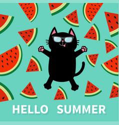 Hello summer black cat wearing sunglasses jumping vector