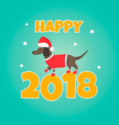 Holiday dachshund perfect for the year of dog vector
