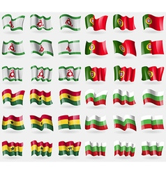 Ingushetia Portugal Ghana Bulgaria Set of 36 flags vector