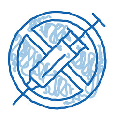 Injection ban doodle icon hand drawn vector