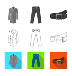 Isolated object man and clothing logo set of vector