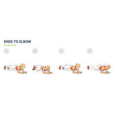 knee to elbow in low plank female home workout vector image